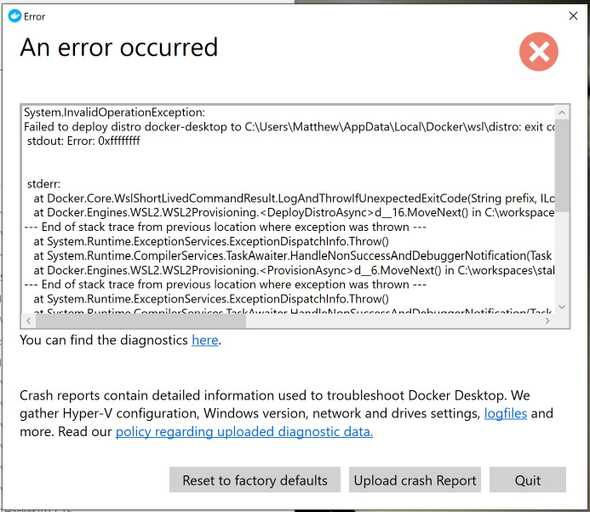 Docker for Windows with error 0xffffffff